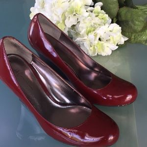 INC Red Patent Leather Wedge Shoes Size 7.5